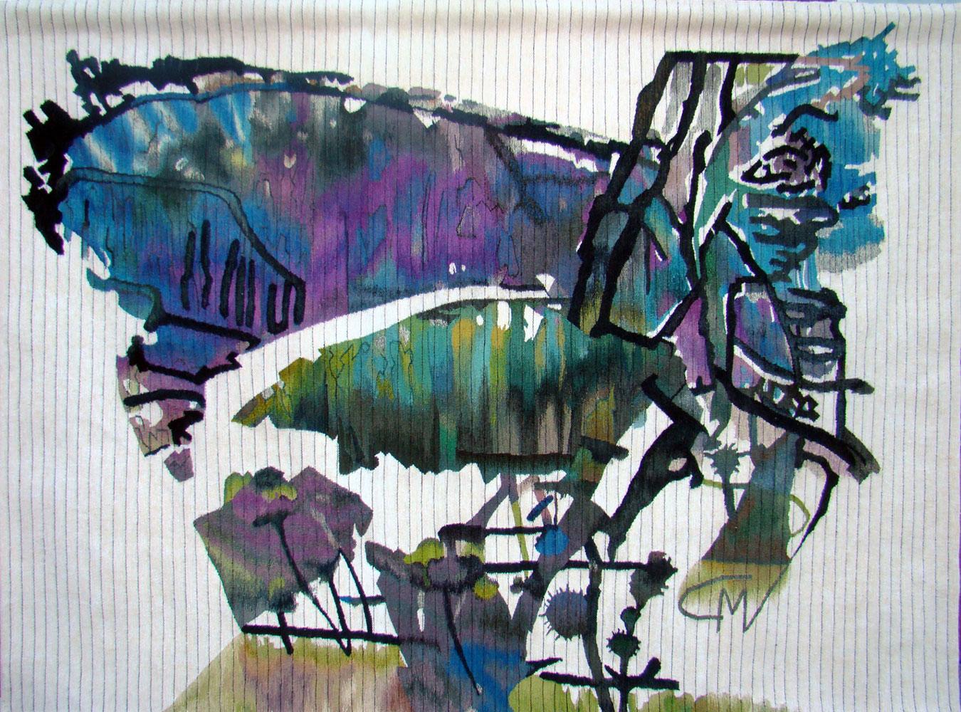 """""""Butterfly Man"""" - 120x160 cm Technique haute-lisse"""