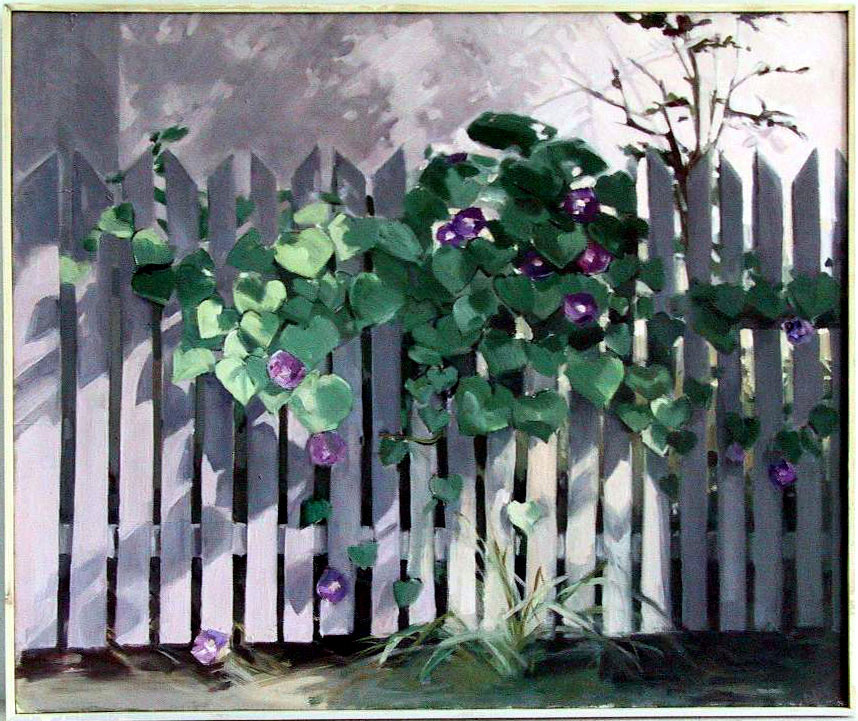 Fence with morning glory - 90x100cm