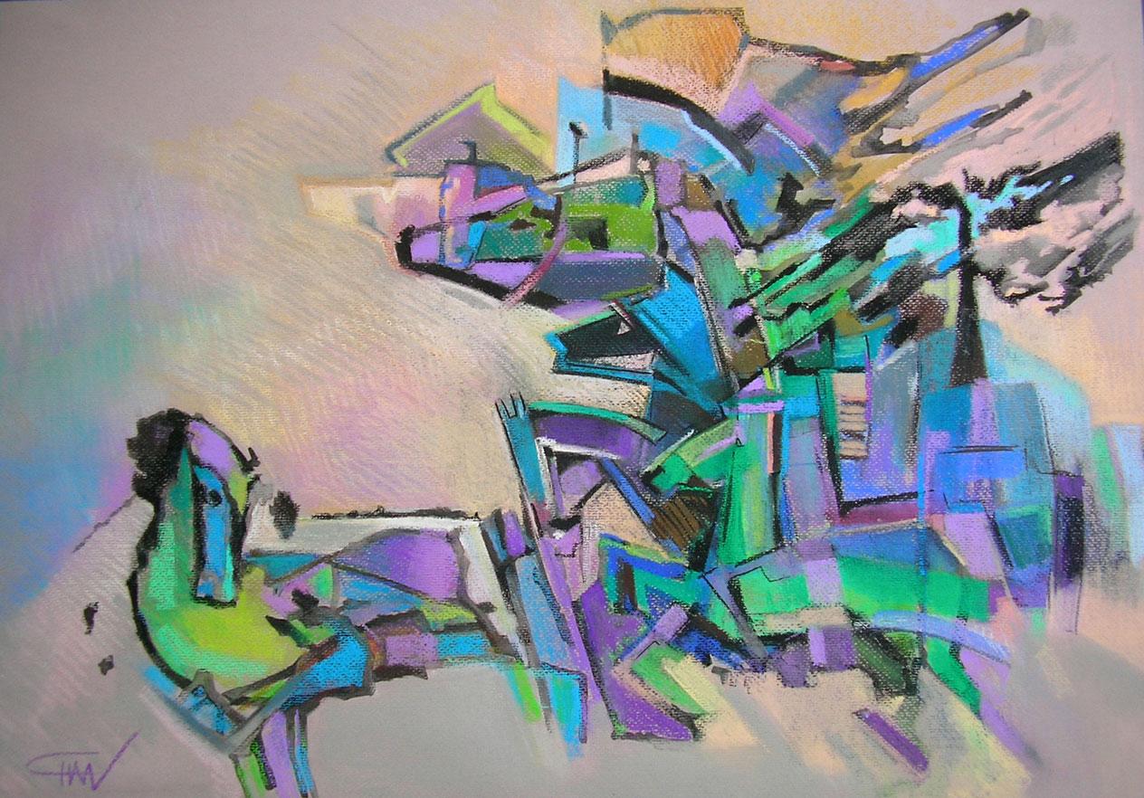 Cai sălbatici -  50x70cm Pastel